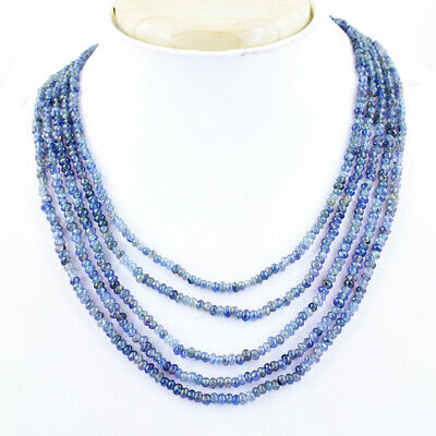 740.00 Cts Natural Round Shape Blue Iolite Unheated Beads Necklace NK 03E175