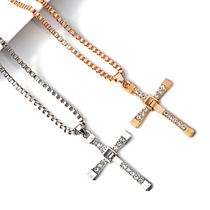 Ice City Mens Cross Pendant with Necklace Chain, Fast and Furious Inspired