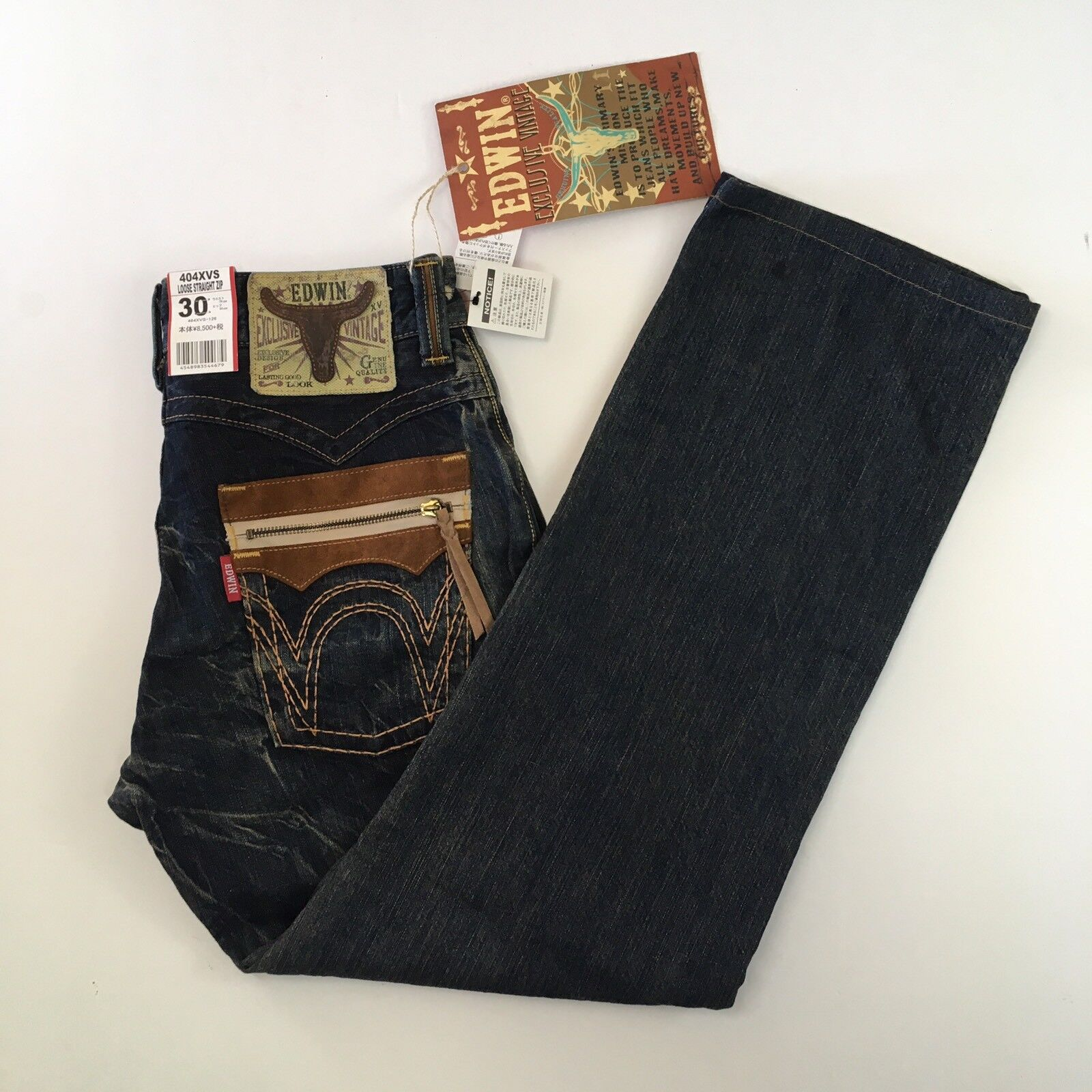 Edwin Mens Sz 30 31x30 404XVS Loose Straight Exclusive Vintage Dark bluee Jeans