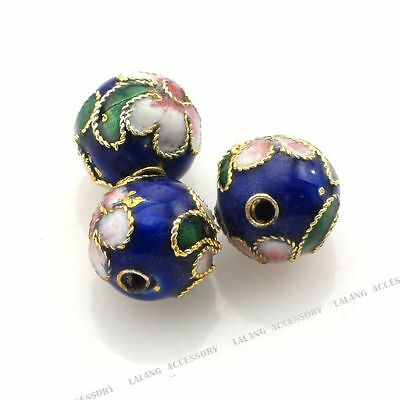 50x Wholesale Lots Blue Cloisonne Enamel Flowered Round Spacer Loose Beads 8x7mm