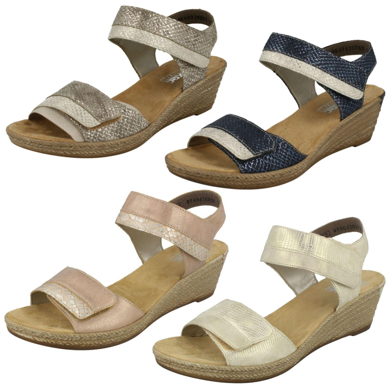 Damen Rieker 62470 Synthetisch Keilabsatz Sandale