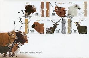 Portugal-2018-FDC-Portuguese-Breeds-Cows-Sheep-Goat-6v-Cover-Farm-Animals-Stamps