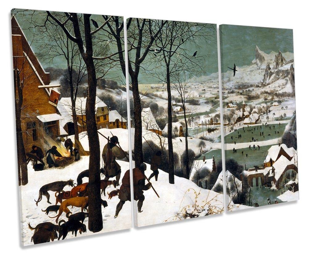 Pieter Bruegel the Elder Hunters in the the the Snow CANVAS WALL ART Three Panel e56e7e