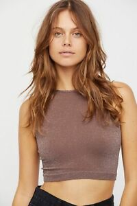 New-Free-People-Womens-Seamless-Sleeveless-Simple-High-Neck-Crop-Top-Xs-L-20