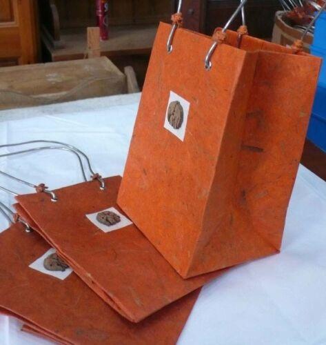 3x ELEPHANT Handmade Orange Paper Party Bags 180x130mm