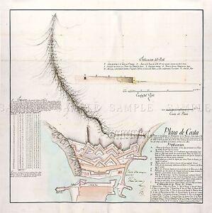 MAP-ANTIQUE-ARCOS-1797-PLAN-ROYAL-WALLS-CEUTA-LARGE-REPLICA-POSTER-PRINT-PAM0533