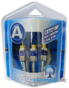 AUDIOBAHN-CEY210F-PRO-Y-RCA-JACK-WIRE-2F-1M-CORD-for-SUB-AMPLIFIER-STEREO-AMP