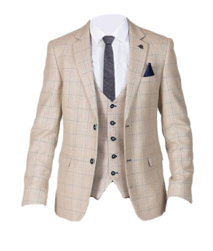 Mens Marc Darcy Smart Check Tweed 2 Piece Blazer & Waistcoat Set Harding Cream
