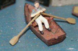 Rowing-boat-amp-rowing-figure-OO-HO-Gauge-Unpainted-Langley-F137