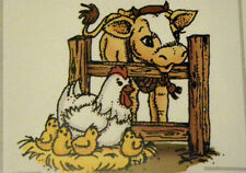 FARM ANIMALS RETIRED chicken, cow, chicks fence   Art impressions rubber stamps