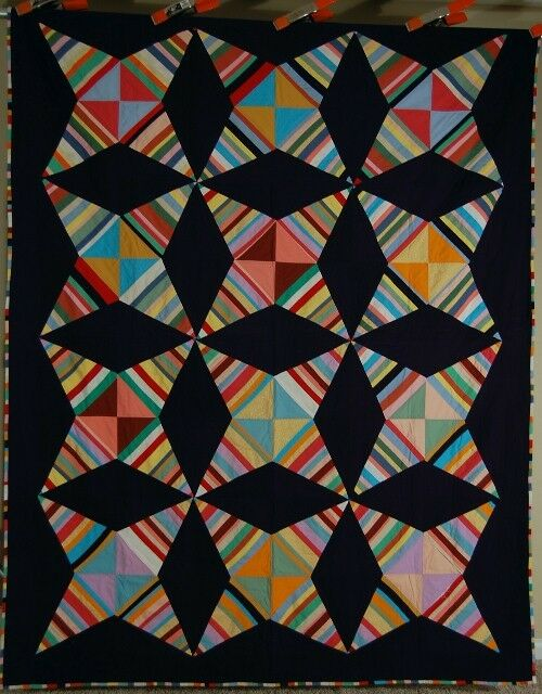 """BOLD Vintage Touching Stars Windmill Blades """"Kite"""" Antique Quilt ~GREAT COLORS!"""