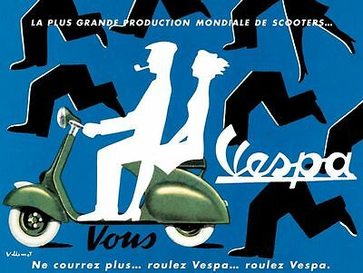 Vintage French Vespa Ad Poster  A3/A2 Print