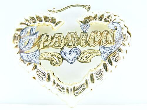 PERSONALIZED 14K GF 3  HEART BAMBOO NAME EARRINGS FAST