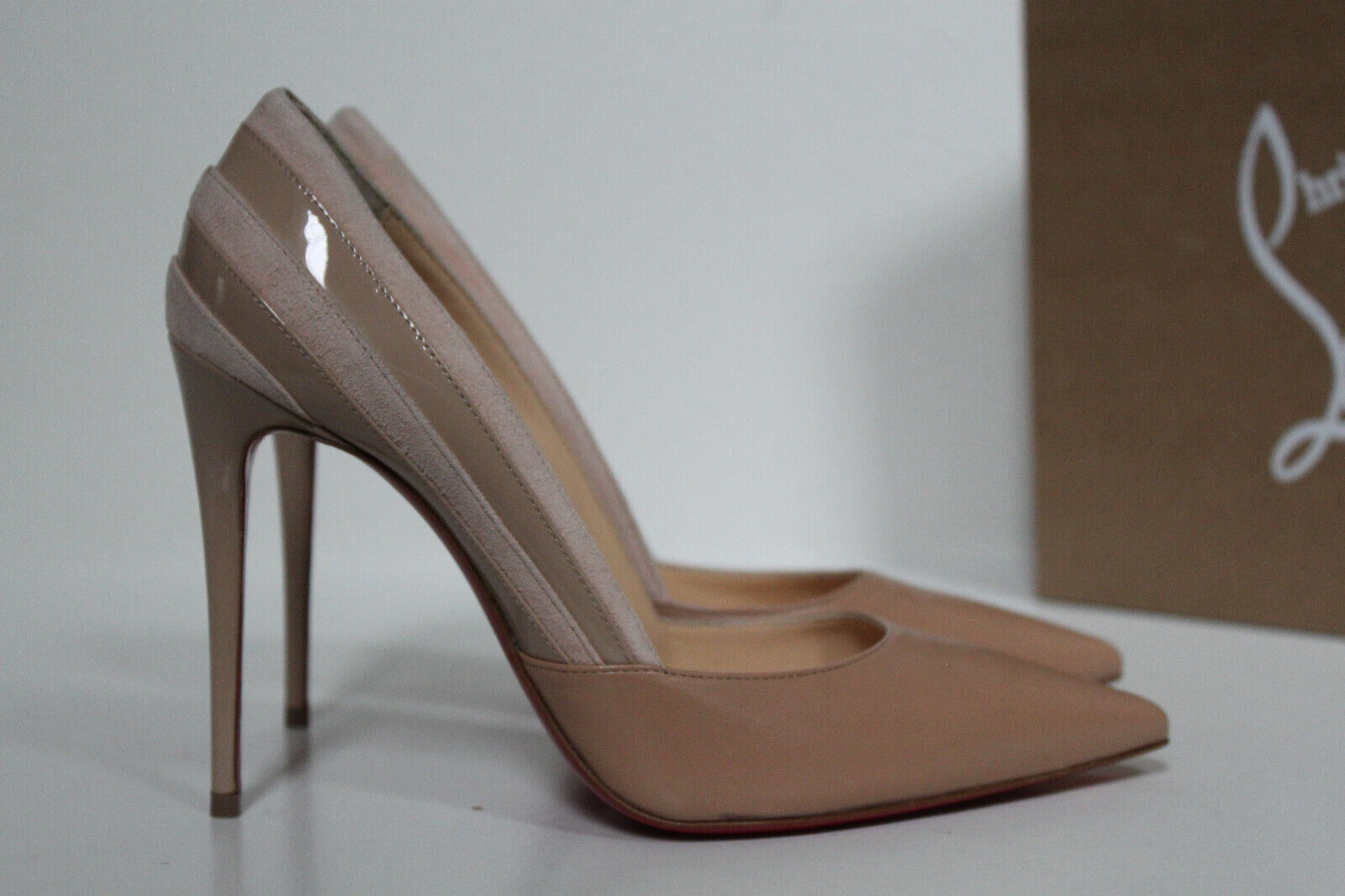 New sz 7   37 Christian Louboutin Beige Leather Leather Leather Super 100 Pointed Toe Pump schuhe 83b3b6