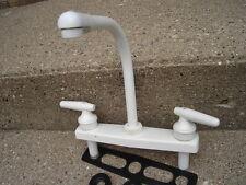 RV marine HIGH RISE kitchen SINK FAUCET white lever handle camper trailer 8201W