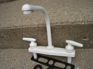 HIGH RISE kitchen SINK FAUCET white lever handle camper trailer RV ...