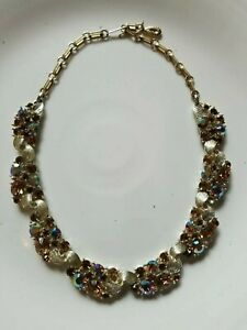 WoW-Vintage-1950s-Gold-Signed-LISNER-Necklace-Topaz-Aurora-Borealis-RHINESTONEs