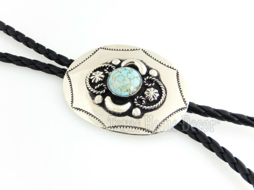 """Turquoise Bolo Tie Adjustable 36/"""" Cord USA Made Western German Silver"""