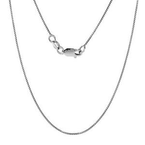 Italian 925 Sterling Silver TARNISH-FREE RHODIUM PLATED .8mm Box Chain Necklace