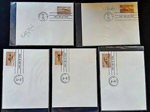 1991-USA-FLY-FISHING-STAMPS-USPS-1st-day-covers-Set-5-Signed-LEFTY-KREH-STU-APTE