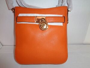 d4c14fb5c95a Image is loading NWT-MICHAEL-KORS-Hamilton-Traveler-Tangerin-Leather- Crossbody-