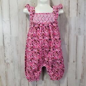 Pumpkin-Patch-Baby-Girls-Overalls-Romper-6-12-Mo-Pink-Floral-Ruffled-Elastic-Hem