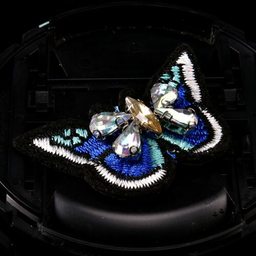 Butterfly sequins rhinestones bead brooch patches sew on beading applique DIY Eb