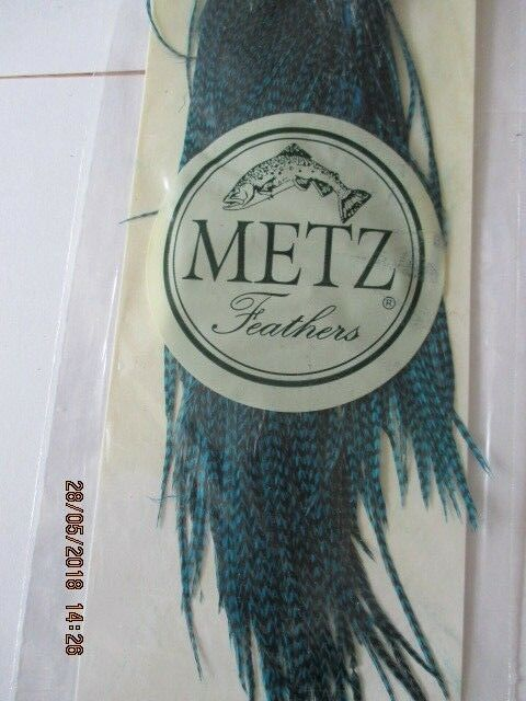 Metz saddle grizzly teal bluee  saddle grade 2  flytying hair feathers  discount