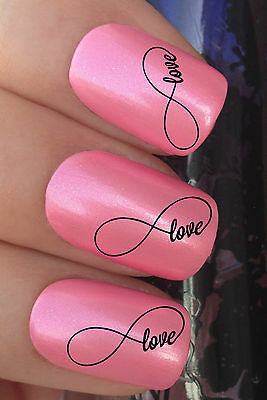 VALENTINES DAY NAIL ART #333 x24 LOVE INFINITY SYMBOL TRANSFER DECALS STICKERS