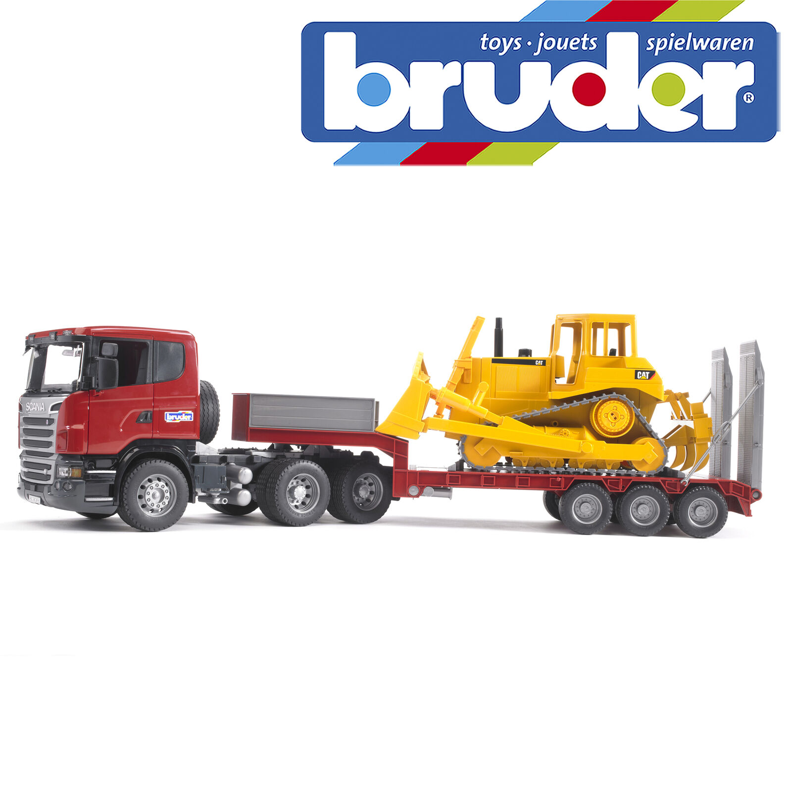 Bruder Scania R-serie Low Loader Truck With Cat Bulldozer Kinder Spielzeug Modell