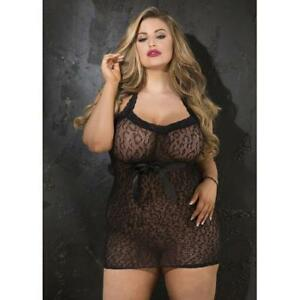 0a140acd860 Shirley of Hollywood Plus Size Black Leopard Patterned Lace Chemise ...