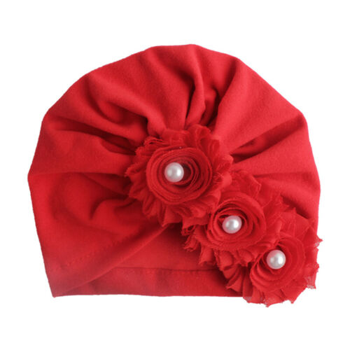 Kids Baby Cotton Hat Big 3 Flowers With Faux Pearls Solid Color Turban Cap New