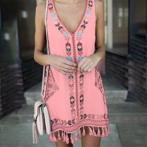 Women Boho Sleeveless Dress Summer Loose Tunic Vest Tank Tops Sundress Plus Size