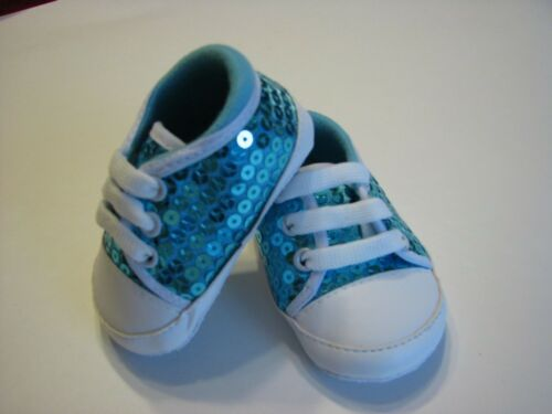 baby shoes girl infant size 3-6M  turquoise sequin soft sole