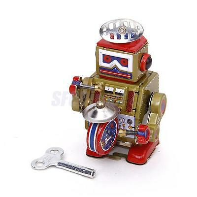 Vintage Wind Up Drummer Robot Mechanical Walking Tin Toy Clockwork Collectible