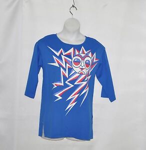 Bob-Mackie-3-4-Sleeve-Racing-for-the-Sun-Knit-T-shirt-Size-S-Blue