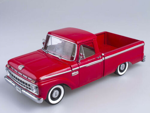 Scale model 1//18 1965 Ford F-100 Custom Cab Pickup Rangoon Red
