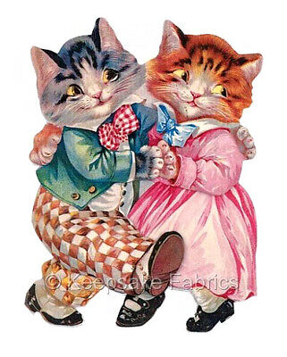 Vintage Cat Couple Dancing Quilt Block Multi Sizes