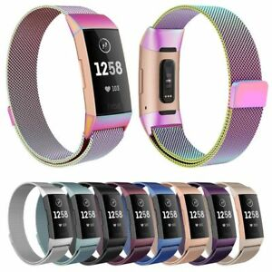 For-Fitbit-Charge-3-Wristband-Stainless-Steel-Milanese-Magnetic-Loop-Band-Strap