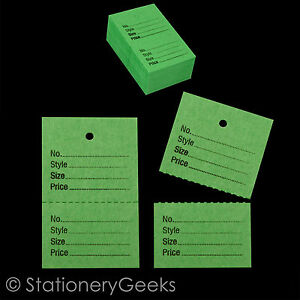 100 green garment clothing tickets perforated clothes price stock