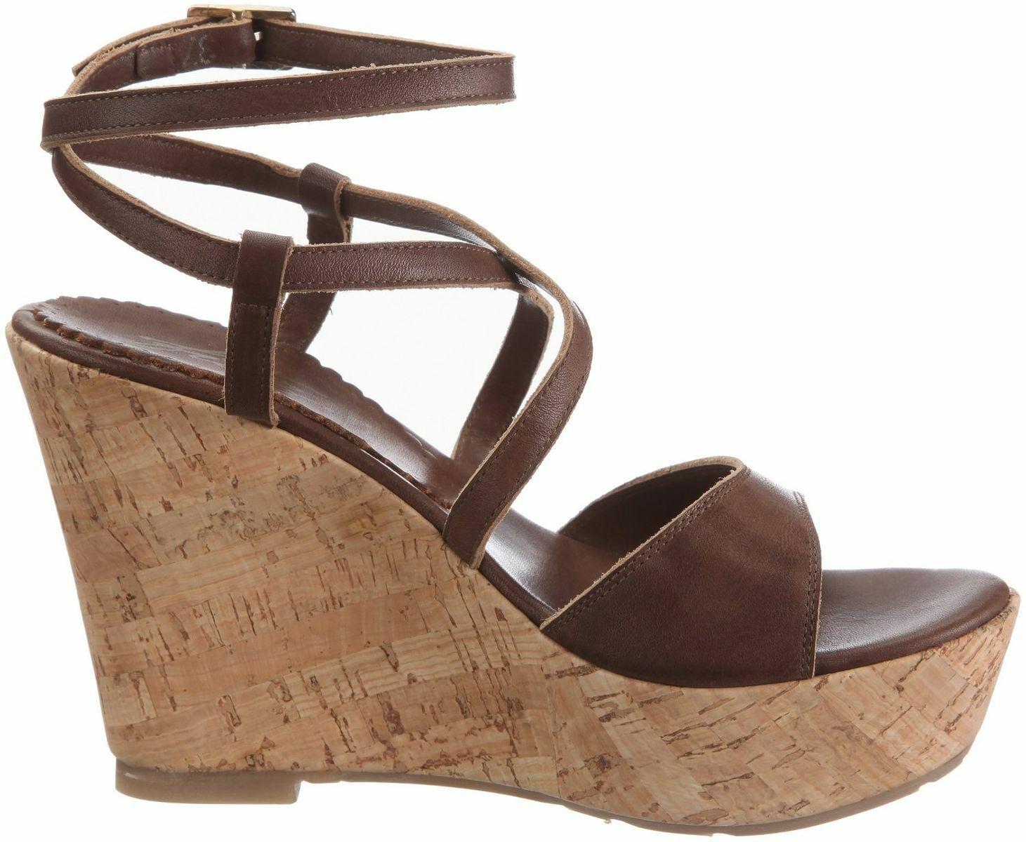 Fitzroy plataforma sandalias de cuero marrón Vivian