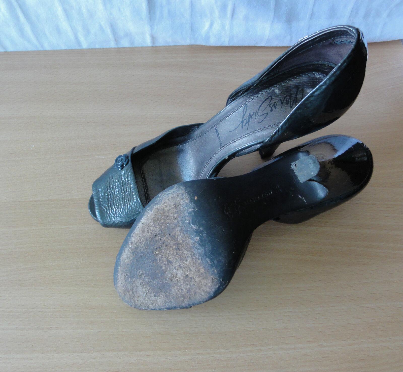 Miss Gr. Sixty Peeptoe, High Heels, Lackleder Pumps Gr. Miss 39 in Grau 9b6753