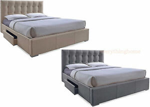 Modern-Queen-Or-King-Lt-Brown-Or-Gray-Upholstered-Bed-Frame-W-Storage-Drawers