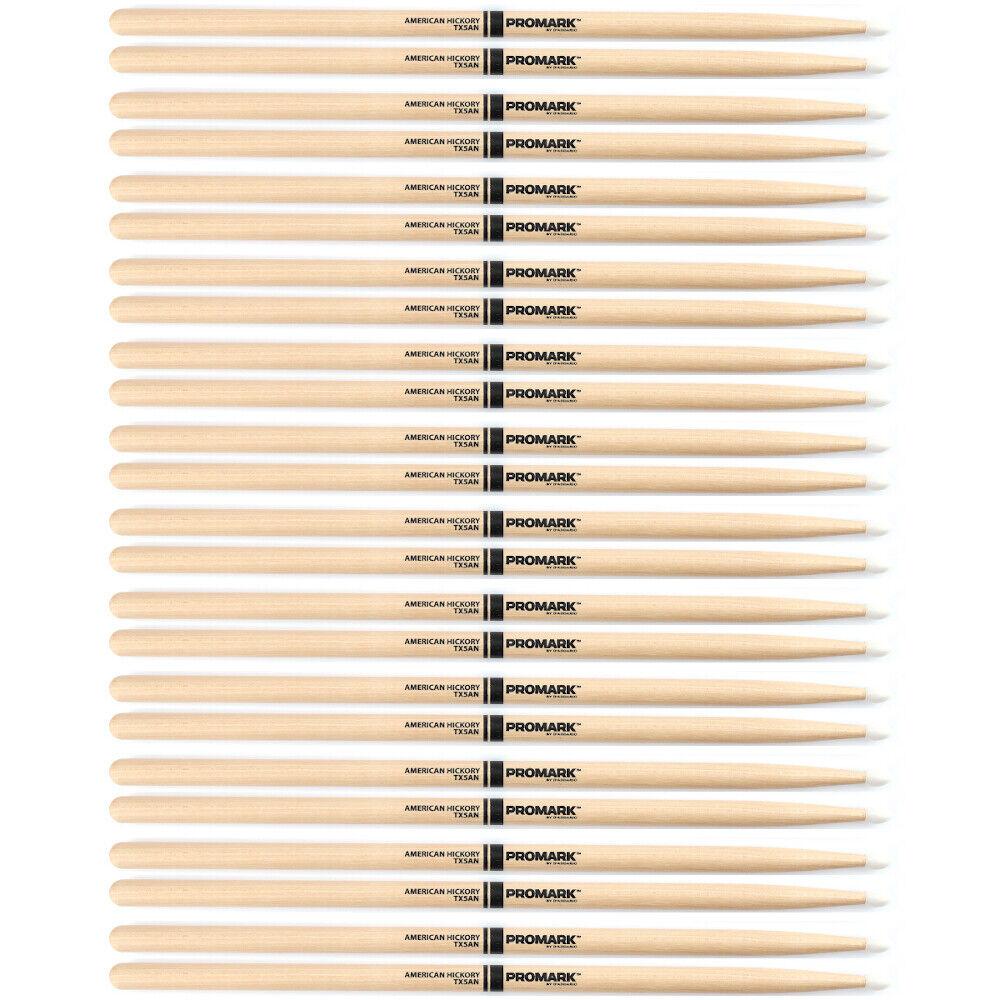 12 Paar pro Marke TX5AN Amerikanischer Hickorybaum 5A Nylon Oval Spitze M Taper