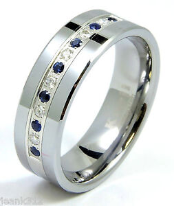 Diamond Sapphire Tungsten Modern Mens Wedding Ring Band 8mm 025ct