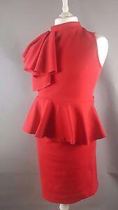 EVITA-RED-Ruffle-Pencil-Peplum-Long-Round-Neck-Bodycon-Tea-Evening-Dress-16-D4