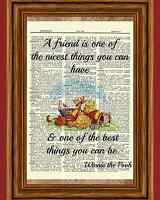 Winnie The Pooh Dictionary Art Print Picture Poster Tigger Vintage Friend Quote