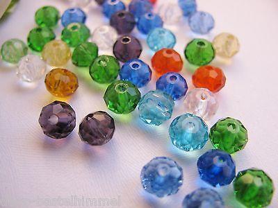 20 Glasperlen, Rondelle facettiert bunt gemischt, Schmuck mit Perlen basteln