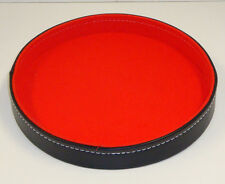 "Dice Pan,Tray Large Red Felt Lined Black Synt. Leather 10"" Liar Poker FREE SHIP!"