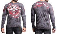 Affliction Ac Smash Oil Spill Men's Cotton Long Sleeve T-shirt A14113, Charcoal